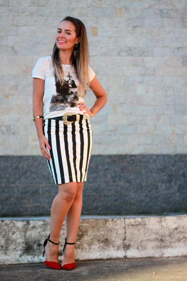 Amado LOOK + SORTEIO saia lápis listrada Clave do Sol | Inspiração Fashion PB08
