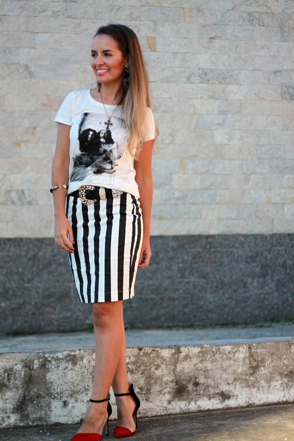 Muitas vezes LOOK + SORTEIO saia lápis listrada Clave do Sol | Inspiração Fashion MQ71