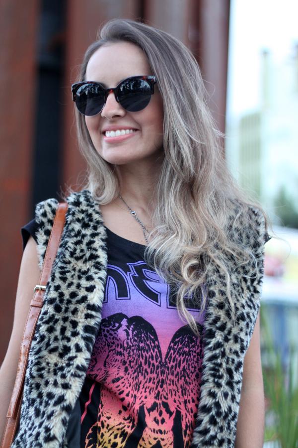 oculos retro leopardo colete pelo fake animal print 8bec60732e