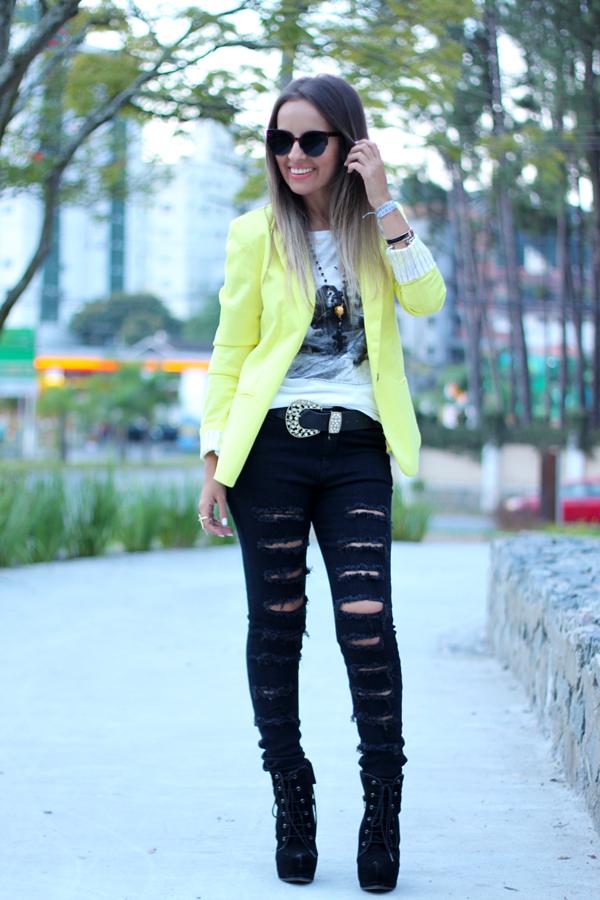 look loja virtual blazer amarelo lima calça rasgada black