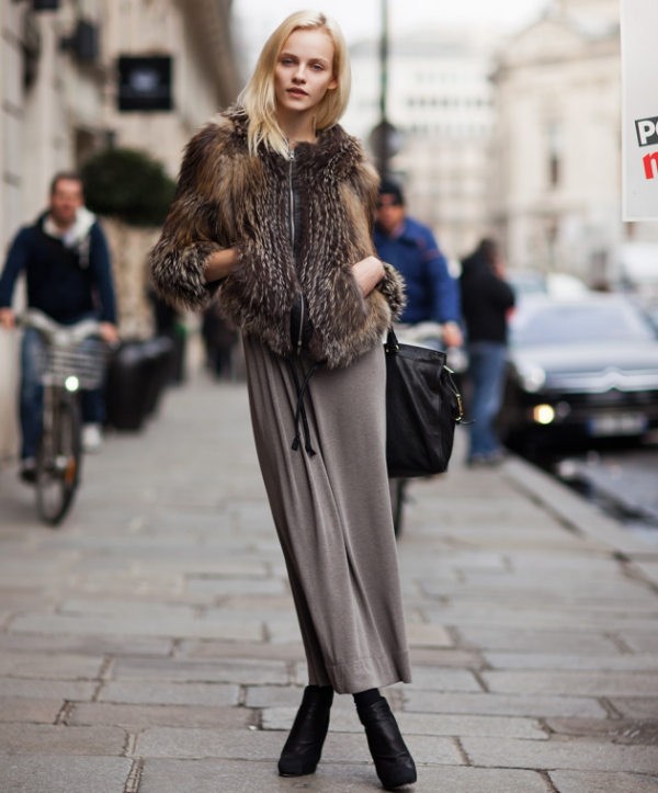 furry_grey_blogspot street style,  jacket, grey jersey maxi skirt, ankle boots -