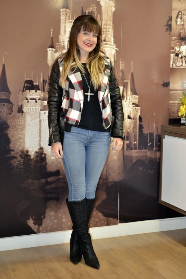look jaqueta perfecto com estampa xadrez