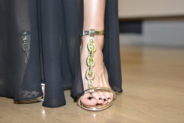 sandalia metalizada Barbara Kras