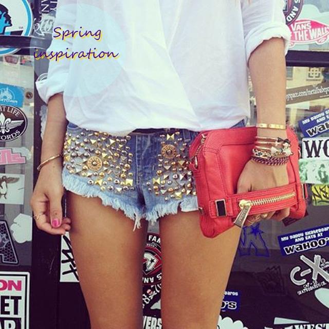 shorts jeans com bordado