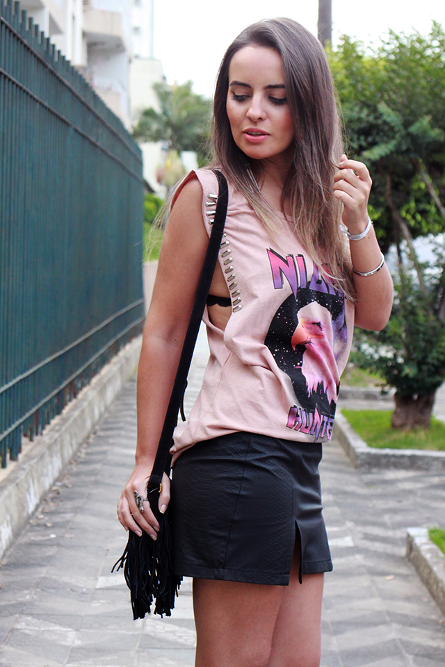 look regatao lfco e saia fendas mini moni